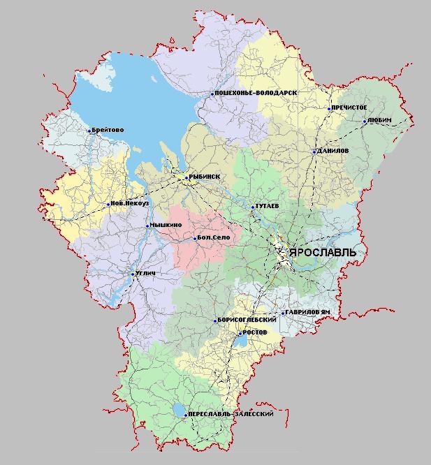 Карта Ярославского региона